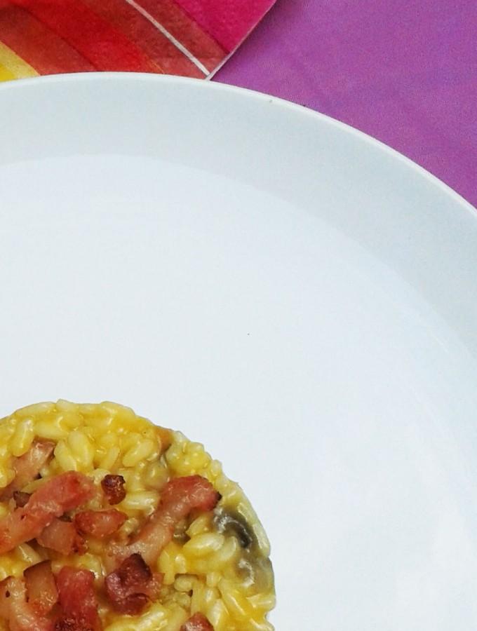 Risotto ai Funghi con Zafferano e Pancetta croccante