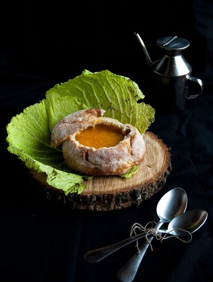 zuppa cremosa di verza e zucca